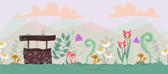 Cute botanical landscape vector set