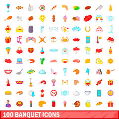 100 banquet icons set, cartoon style