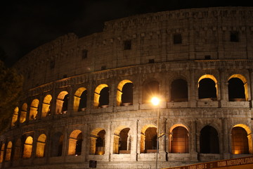 Italy Illuminated scene of Colosseum at night