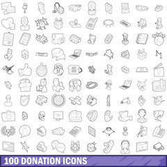 100 donation icons set, outline style