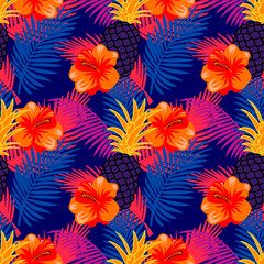 Seamless pattern with tropical fruits, flowers and palm leaves. Tropic background with neon colors