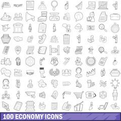 100 economy icons set, outline style