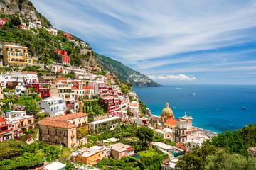 view on town Positano on Amalfi coast, Campania, Italy