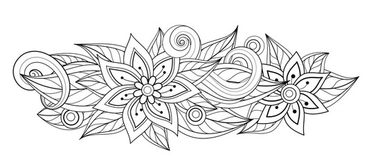 Vector Monochrome Floral Composition in Oval Shape
