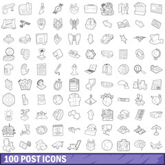 100 post icons set, outline style
