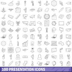 100 presentation icons set, outline style