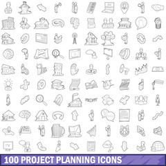 100 project planning icons set, outline style