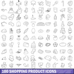 100 shopping product icons set, outline style