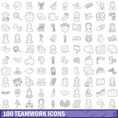 100 teamwork icons set, outline style