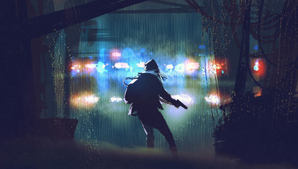 scene of the thief with the gun being caught by police car light at rainy night with digital art style, illustration painting Wall mural