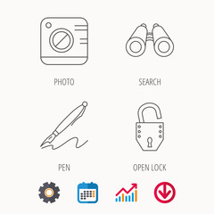 Photo, open lock and search icons. Pen linear sign. Calendar, Graph chart and Cogwheel signs. Download colored web icon. Vector