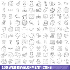 100 web development icons set, outline style