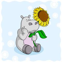 Sonnenblumen Nilpferd Comic Vektor