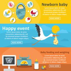 Newborn baby banner horizontal set, flat style