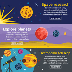 Planets research banner horizontal set, flat style