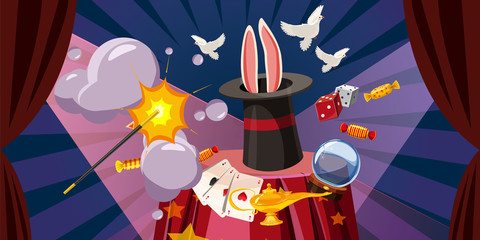 Magician explode banner horizontal, cartoon style