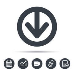 Download icon. Load internet data symbol. Calendar, chart and checklist signs. Video camera and attach clip web icons. Vector