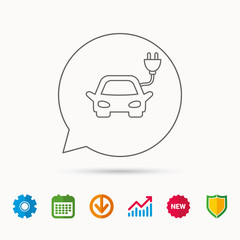 Electric car icon. Hybrid auto transport sign. Calendar, Graph chart and Cogwheel signs. Download and Shield web icons. Vector