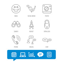 Phone call, chat speech bubble and photo camera icons. Social media, smile and rocket linear signs. Report file, Graph chart and Chat speech bubble signs. Laptop and Calendar web icons. Vector
