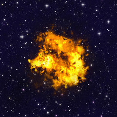 bright explosion fire flash on space backgrounds