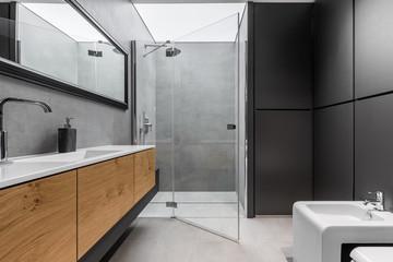 Gray and black bathroom