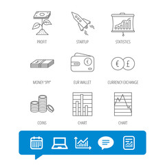 Profit investment, cash money and startup rocket icons. Wallet, currency exchange and euro linear signs. Chart, coins and statistics icons. Report file, Graph chart and Chat speech bubble signs