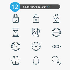 Internet Icons Set. Collection Of Time, Alert, Unlock And Other Elements. Also Includes Symbols Such As Research, Remove, Photo.