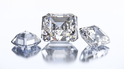 3D illustration three asscher diamond stone