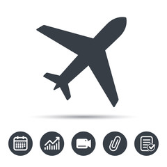 Plane icon. Flight transport symbol. Calendar, chart and checklist signs. Video camera and attach clip web icons. Vector