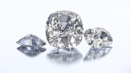 3D illustration three cushion diamond stone