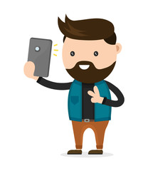 Young bearded hipster man do selfie photo on a smartphone phone. Vector flat modern style illustration character icon design. Isolated on white background.