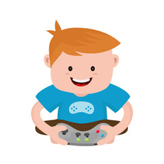 Cheerful happy boy young man hold joystick plays video game. Vector flat modern style illustration character icon design. Isolated on white background.  Gamer concept