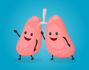 Happy fun cute lungs. Vector flat cartoon character illustration design. Anatomy concept