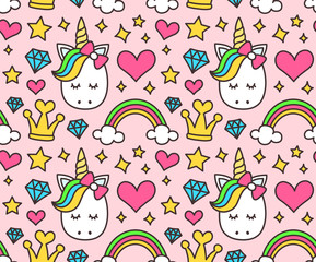 Cute unicorn, princess concept, girl beauty seamless pattern isolated on pink background. Vector cartoon design. Magic, fairy tale, heart, rainbow, crown, stars, diamond