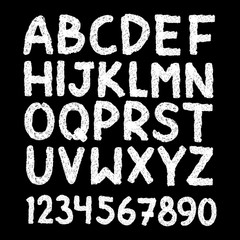Scratched hand drawn letters and numbers font. bold comic modern marker lettering. Grunge font, Sans serif. Vector design. Isolated on black background. alphabet ink, brush. calligraphy, black