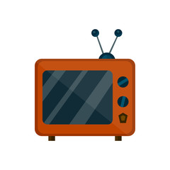 old retro vintage tv. vector flat cartoon illustration icon design. isolated on white background