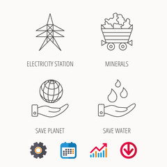 Save water, planet and electricity station icons. Minerals linear sign. Calendar, Graph chart and Cogwheel signs. Download colored web icon. Vector