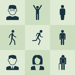 Human Icons Set. Collection Of Businesswoman, Running, Happy And Other Elements. Also Includes Symbols Such As Smart, Happy, Mister.