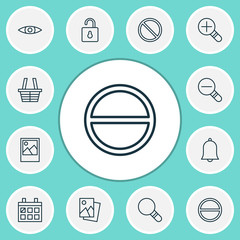 Network Icons Set. Collection Of Zoom Out, Obstacle, Refuse And Other Elements. Also Includes Symbols Such As Eye, Padlock, Almanac.