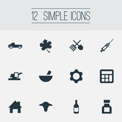 Vector Illustration Set Of Simple Harvest Icons. Elements Engine, Truck, Buffalo And Other Synonyms Pickup, Accounting And Forest.