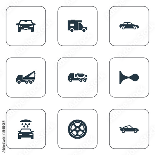 Vector Illustration Set Of Simple Transport Icons. Elements Cab ...