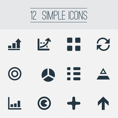 Vector Illustration Set Of Simple Statistic Icons. Elements Component, Coordinate Axis, Analytics And Other Synonyms Cycle, Upward And Calibration.
