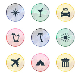 Vector Illustration Set Of Simple Beach Icons. Elements Taxi, Cocktail, Airplane And Other Synonyms Rose, Palm And Travel.