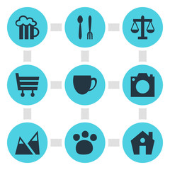 Vector Illustration Of 9 Map Icons. Editable Pack Of Pet Shop, Scales, Beer Mug And Other Elements.
