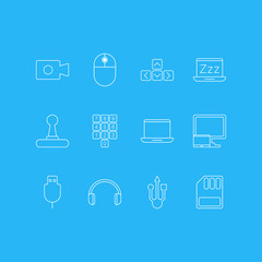 Vector Illustration Of 12 Laptop Icons. Editable Pack Of Usb Icon, Movie Cam, Game Controller And Other Elements.