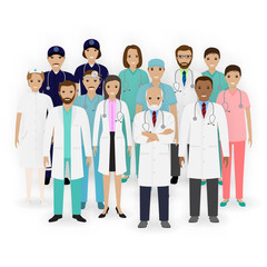 Doctors, nurses and paramedics characters icons. Group of medical staff. Hospital team. Medicine banner.