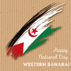 Western Sahara Independence Day Patriotic Design. Expressive Brush Stroke in National Flag Colors on kraft paper background. Happy Independence Day Western Sahara Vector Greeting Card.