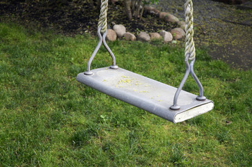 Rope swing hanging from backyard tree branch