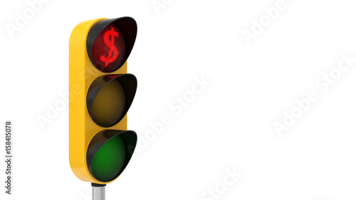 3d Illustration Of Traffic Light With Dollar Symbol Stock Photo