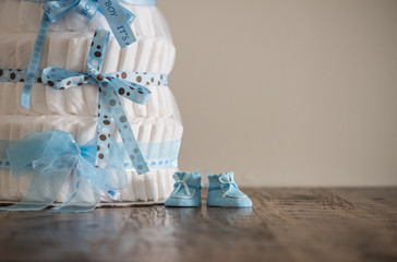Diaper Cake A multi leveled diaper cake for a baby shower.